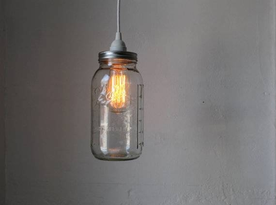 Mason Jar Pendant Lamp Large Half Gallon Mason Jar Hanging For Ball Jar Pendant Lights (View 12 of 15)