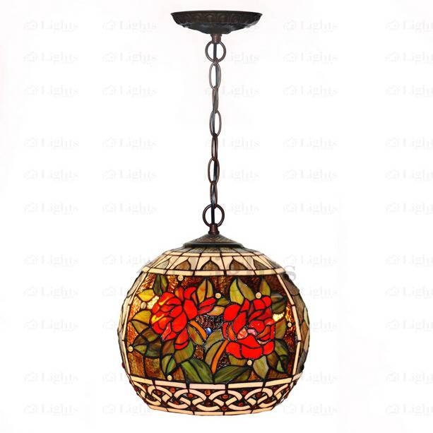 Metal Fixture And Stained Glass Tiffany Style Large Pendant Lighting For Stained Glass Pendant Lights (#11 of 15)