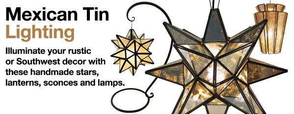 Mexican Tin Lighting – Hanging Lanterns & Stars, Wall Sconces Within Mexican Pendant Lights (#10 of 15)