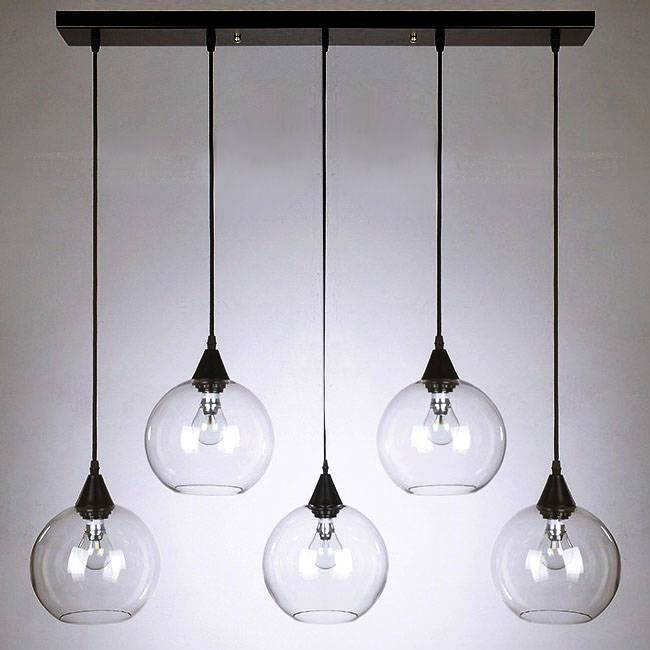 Modern Clear Glass Orb Pendant Lighting In Chrome Finish 11014 With Regard  To Clear Glass Ball