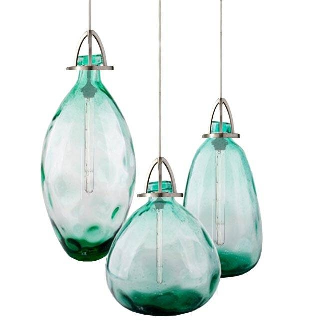 Modern Country Blown Glass Bottle Pendant Lighting 11878 : Browse Inside Turquoise Glass Pendant Lights (#13 of 15)