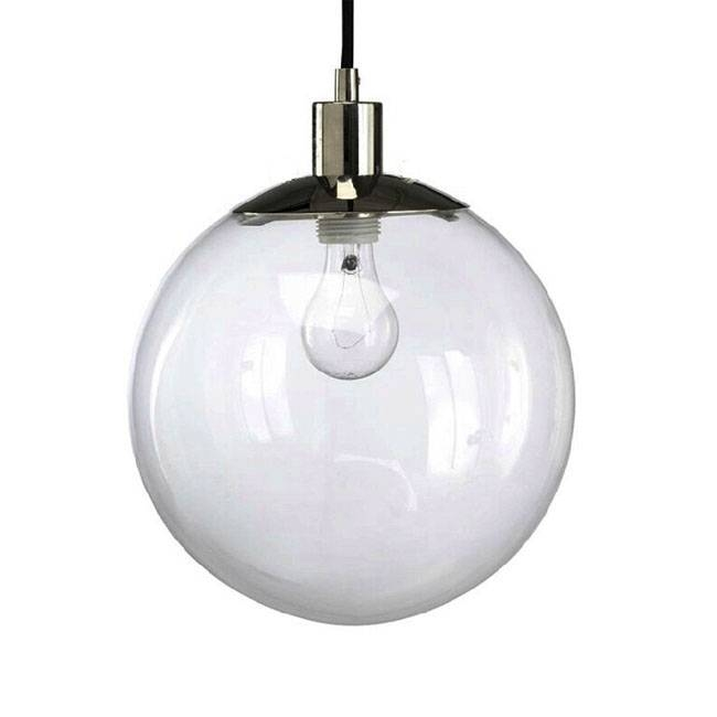 Modern Country Clear Glass Orb Pendant Lighting In Chrome Finish For Glass Orb Lights (#15 of 15)