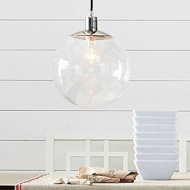 Modern Country Clear Glass Orb Pendant Lighting In Chrome Finish Regarding Glass Orb Pendant Lights (#11 of 15)