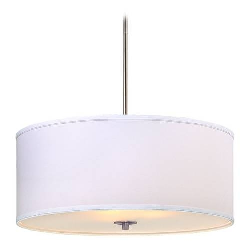 Modern Drum Pendant Light With White Glass In Satin Nickel Finish In Drum Pendant Lights (#13 of 15)