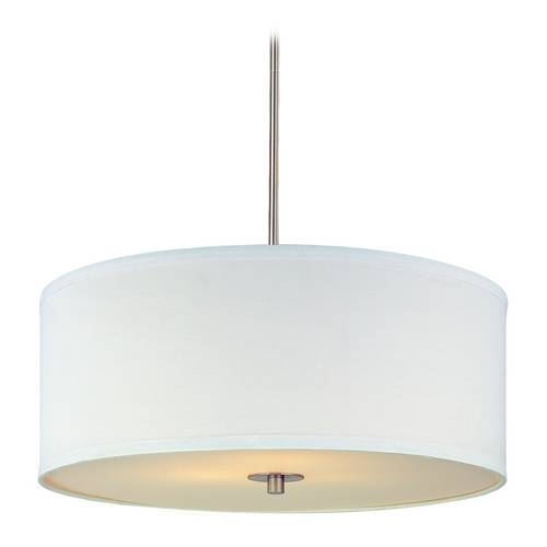 Modern Drum Pendant Light With White Shade In Satin Nickel Finish For Brushed Nickel Drum Lights (#5 of 15)