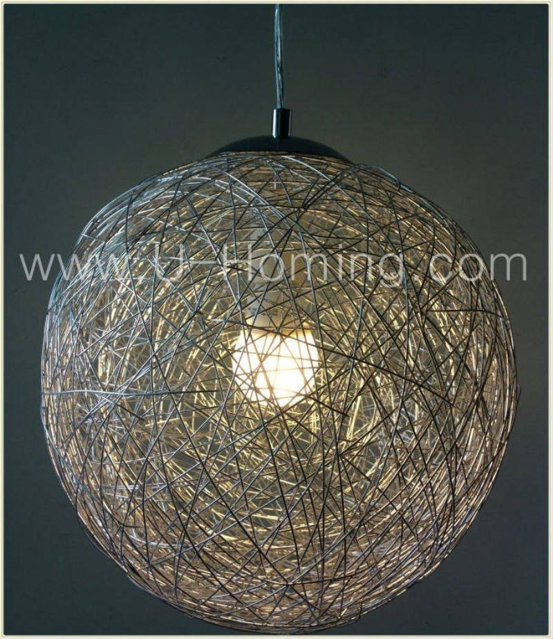 Modern Round Aluminum Wire Ball Pendant Lighting Hotel Decorative With Wire Ball Lights Pendants (#12 of 15)