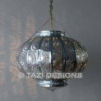 Moroccan Pendant Light Fixture Pierced Tin Ceiling Lighting Metal Inside Moroccan Punched Metal Pendant Lights (#12 of 15)