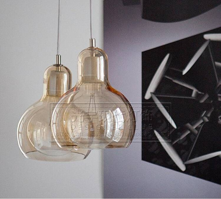 Nordic 11/18Cm Big Bulb Glass Pendant Lights Amber Glass Lampshade Throughout Brown Glass Pendant Lights (#13 of 15)