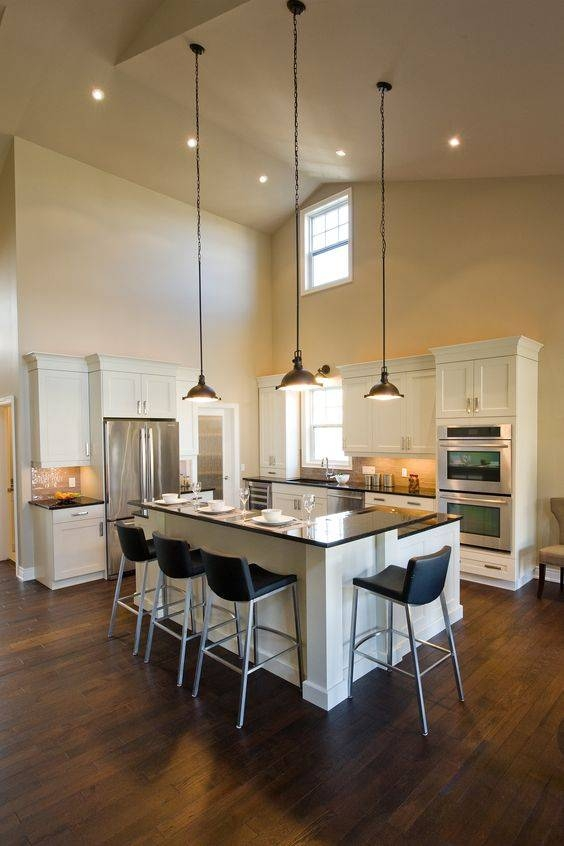 Old Mill Lane Kitchen – L Shaped Breakfast Bar, High Ceilings With Regard To Pendant Lighting For High Ceilings (#12 of 15)