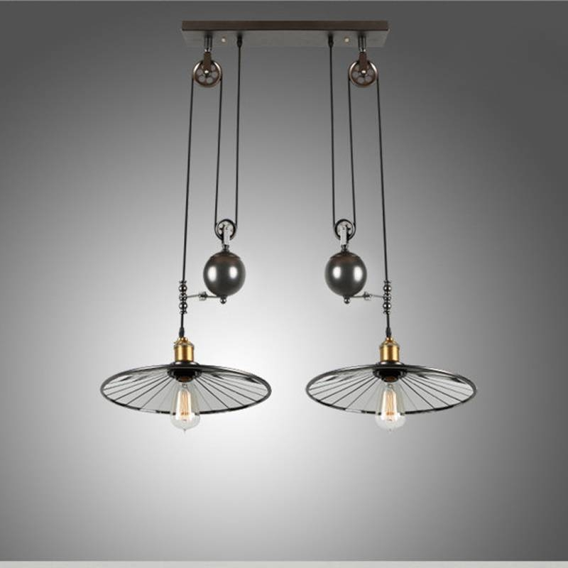 Popular Photo of Pulley Adjustable Pendant Lights
