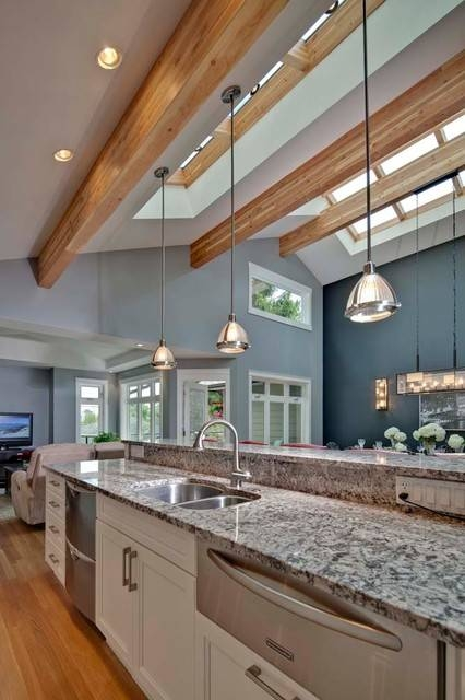 Open Concept Great Room With Vaulted Ceilings – Contemporary Regarding Pendant Lights For Vaulted Ceilings (#10 of 15)