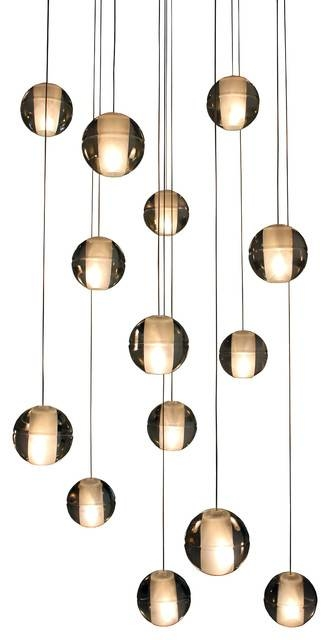 Orion 14 Light Floating Glass Globe Led Chandelier – Contemporary With Regard To Glass Orb Pendant Lights (#12 of 15)