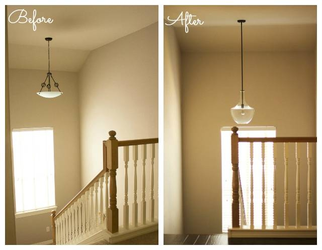 Our Updated Lighting | Design Improvised Intended For Pendant Lights For Stairwell (#10 of 15)