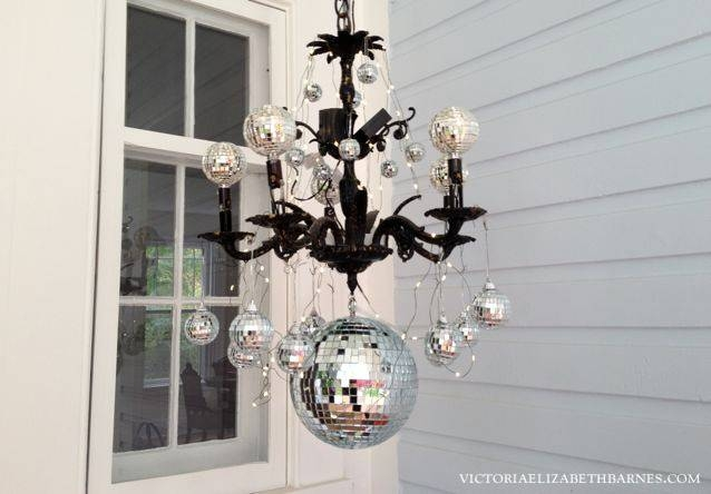 Our Victorian Front Porch, Decorated For Halloween Diy Chandelier!! Regarding Disco Ball Ceiling Lights Fixtures (#12 of 15)
