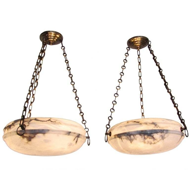 Pair French Alabaster Ceiling Light Pendants At 1stdibs With Regard To Alabaster Pendants (View 1 of 15)