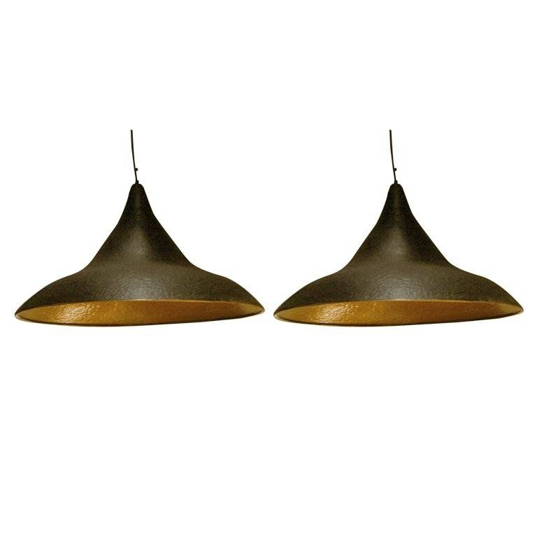 Pair Of Hammered Metal Pendant Light Fixtures For Sale At 1stdibs Throughout Hammered Metal Pendant Lights (View 10 of 15)