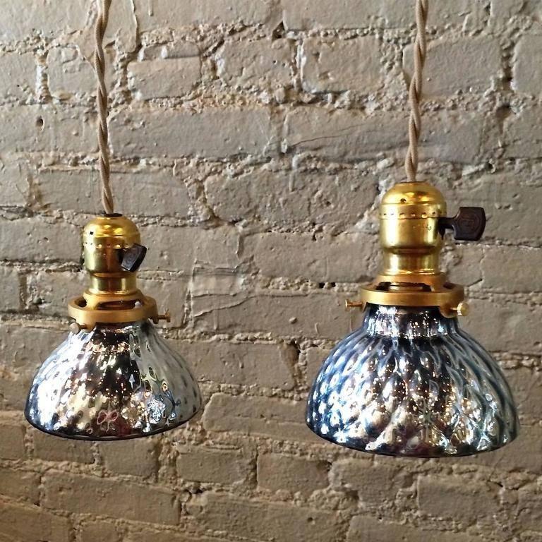 Pair Of Petite Blue Mercury Glass Pendant Lights With Brass For Blue Mercury Glass Pendant Lights (View 7 of 15)
