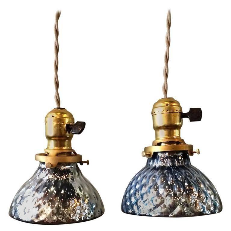 Pair Of Petite Blue Mercury Glass Pendant Lights With Brass Throughout Blue Mercury Glass Pendant Lights (View 12 of 15)
