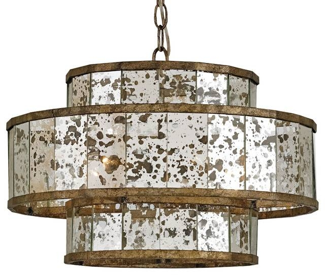 Palma Hollywood Regency Antique Bronze Mirror Drum Pendant, 18 Within Drum Pendant Lighting (#11 of 15)
