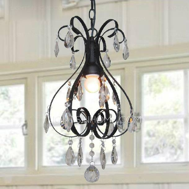Pastoral Mini Crystal Pendant Lights Black Wrought Iron Pertaining To Wrought Iron Mini Pendant Lights (#8 of 15)