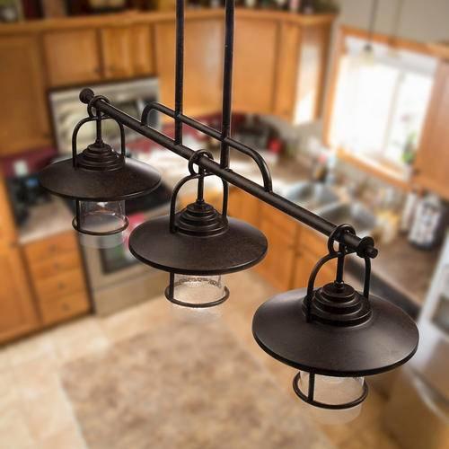 Patriot Lighting® Elegant Home 3 Light Miner Bronze Island Light With Patriot Lighting Pendants (View 13 of 15)