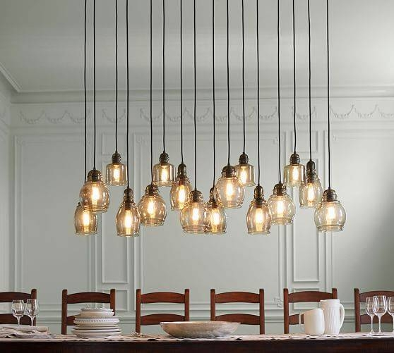 Paxton Glass 16 Light Pendant | Pottery Barn Inside Paxton Glass 3 Lights Pendants (#4 of 15)