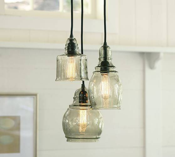 Paxton Glass 3 Light Pendant | Pottery Barn Inside Paxton Glass 8 Lights Pendants (#8 of 15)