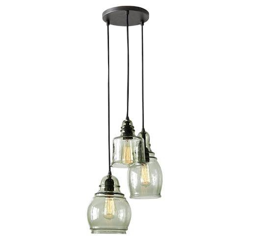 Paxton Glass 3 Light Pendant | Pottery Barn With 3 Pendant Light Kits (#13 of 15)