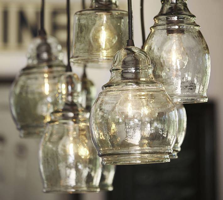 Paxton Glass 8 Light Pendant | Pottery Barn Pertaining To Paxton Glass Pendants (#7 of 15)