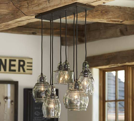 Paxton Glass 8 Light Pendant | Pottery Barn Throughout Paxton Glass 3 Lights Pendants (#10 of 15)