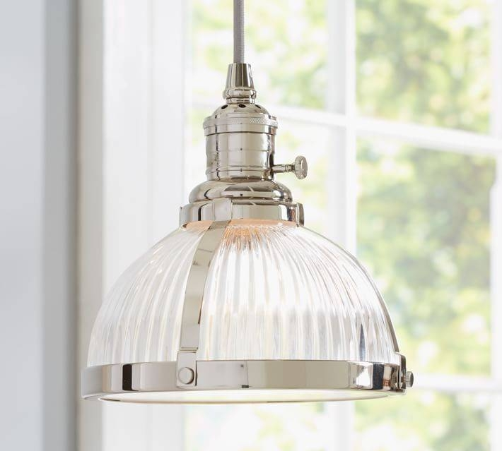 Pb Classic Pendant – Ribbed Glass | Pottery Barn With Regard To Industrial Kitchen Lighting Pendants (#13 of 15)