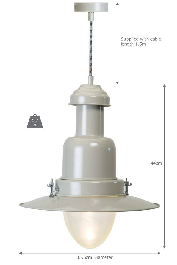 Pendant Fishing Light, Large In Clay | Garden Trading Pertaining To Pendant Fishing Lights (#15 of 15)