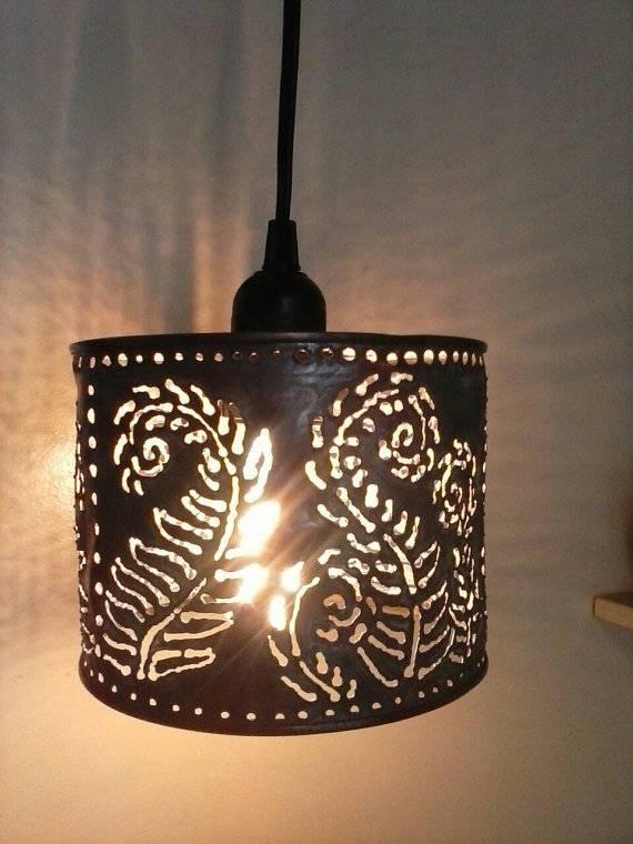 Pendant Lamp Metal Lighting Farmhouseboho Lightingfern Intended For Punched Metal Pendant Lights (#7 of 15)