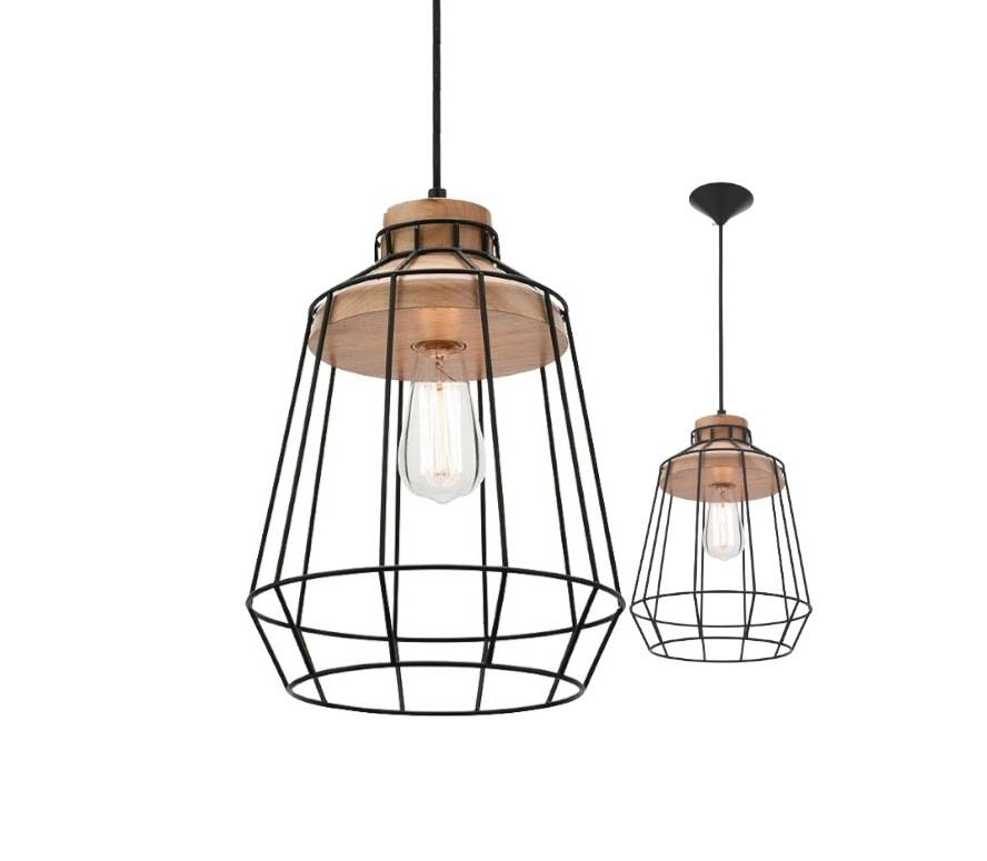 Pendant Light Black Metal Cage With Oak Timber Mercator Mg4531 Pertaining To Mercator Pendant Lights (#15 of 15)