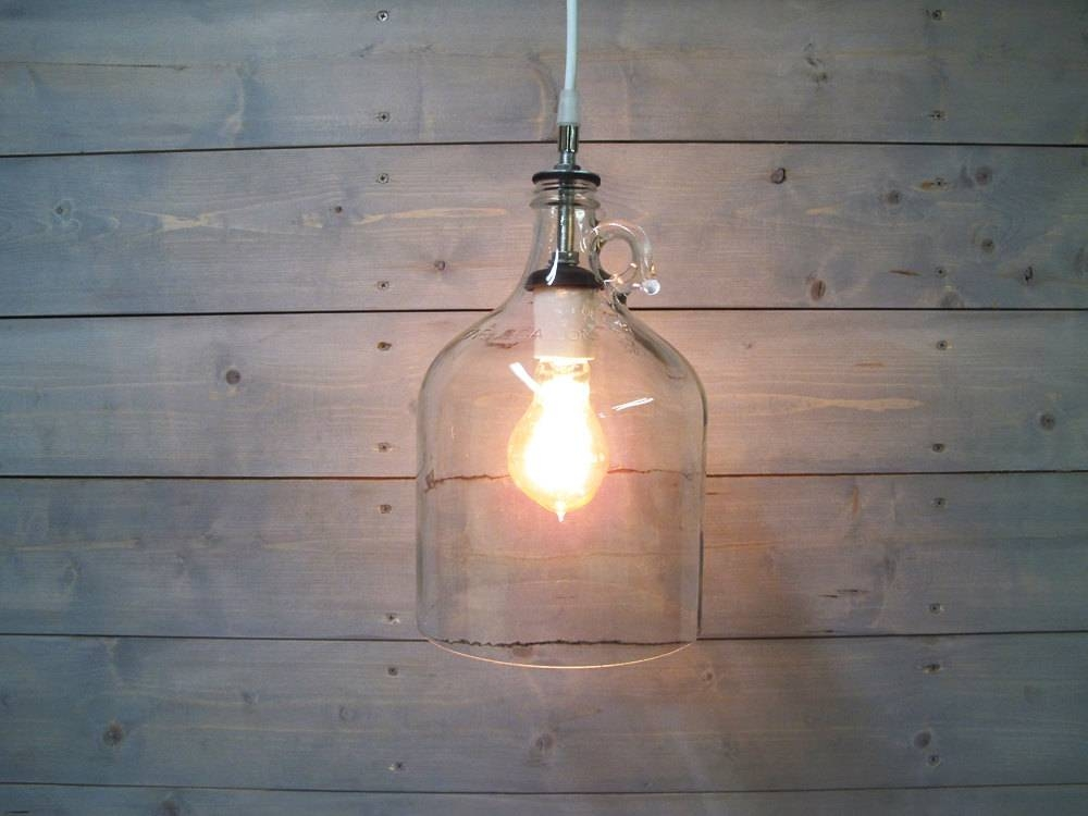 Pendant Light Glass Wine Jug Large – One Gallon Clear Upcycled With Regard To Wine Jug Pendant Lights (View 15 of 15)