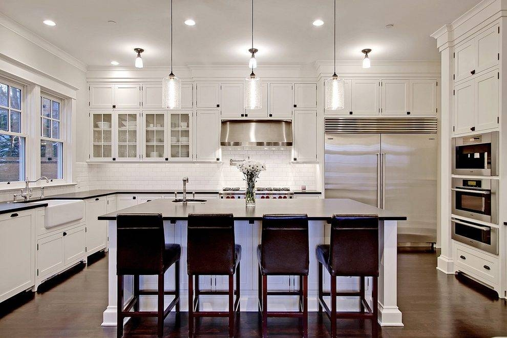 Pendant Lights Kitchen Traditional With White Cabinets Kitchen Within Stainless Steel Pendant Lights For Kitchen (#12 of 15)