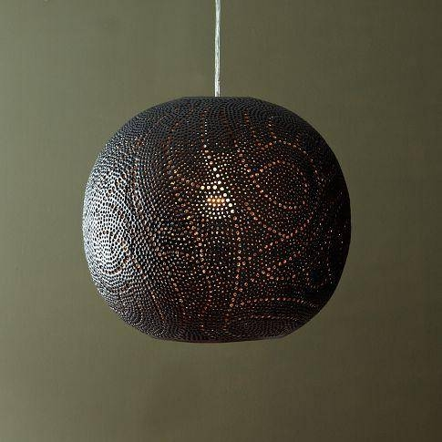 Perforated Metal Globe White Pendant For Punched Metal Pendant Lights (#9 of 15)