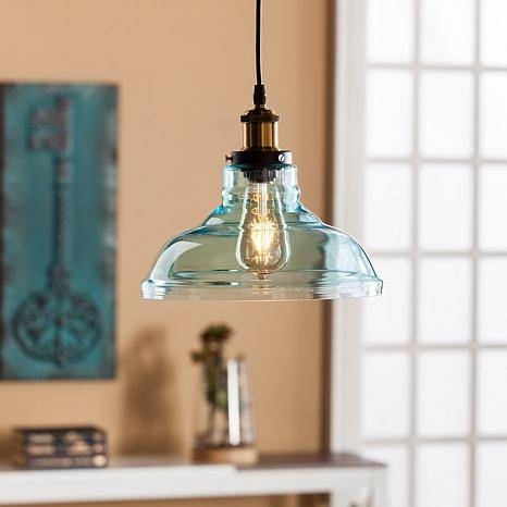 Platos Colored Glass Bell Pendant Lamp – Soft Aqua – 8431702 | Hsn Intended For Aqua Pendant Lights (View 15 of 15)