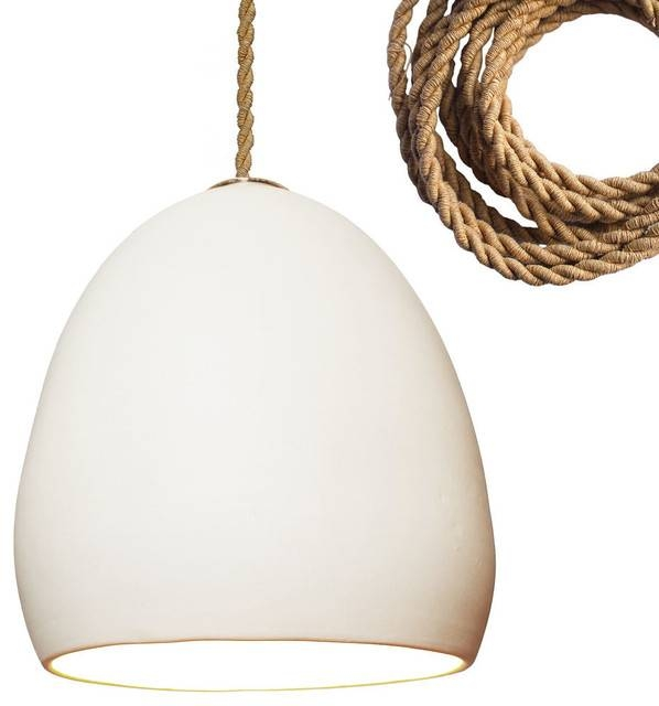 Porcelain Rustic Ceramic Matte White Clay Pendant Light, Ship Rope Within Beach Style Pendant Lights (View 13 of 15)