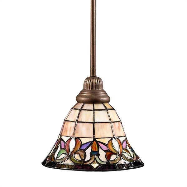 Portfolio Art Nouveau Bronze Flora Mini Pendant Light With Tiffany Throughout Portfolio Mini Pendants (#12 of 15)