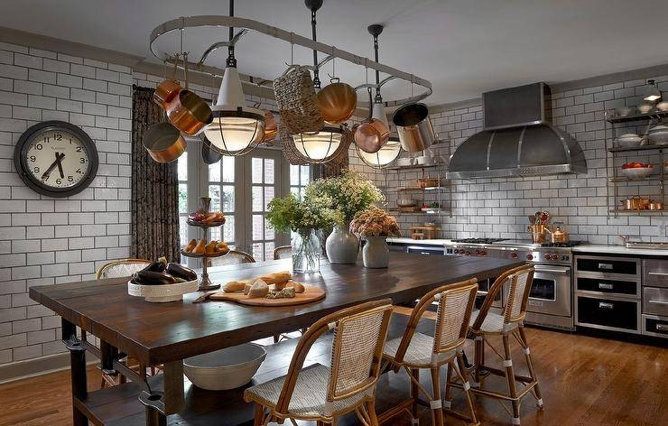 Pot Rack Above Island Design Ideas Throughout Pot Rack Pendant Lights (#7 of 15)