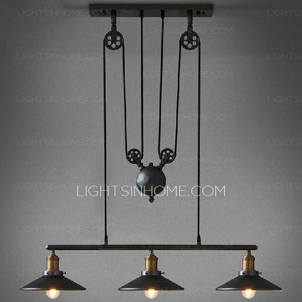 Primitive 3 Light Industrial Hanging Pulley Pendant Lights Inside Pulley Pendant Lighting (#15 of 15)