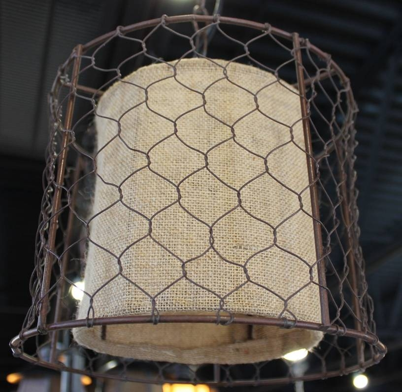 Primitive Chicken Wire Burlap Drum Swag Lamp | Lamp Shade Pro For Chicken Wire Pendant Lights (#13 of 15)