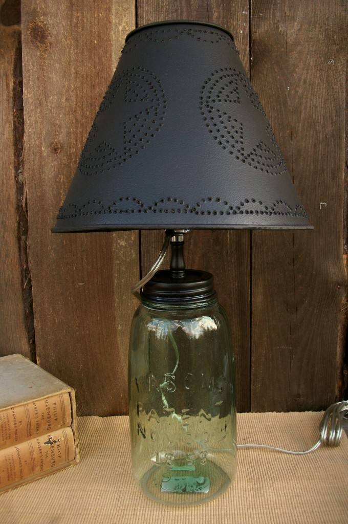 "Primitive Country Punched Tin 10"" Clip On Lamp Shade Star Inside Punched Tin Lights Fixtures (#8 of 15)"
