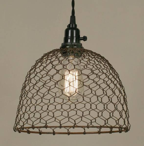 Primitive Rust Chicken Wire Rustic Swag Lamp | Lamp Shade Pro In Chicken Wire Pendant Lights (#14 of 15)
