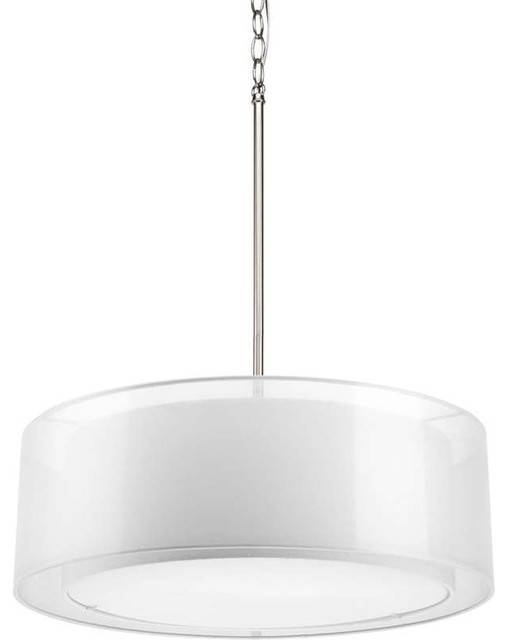 Progress Lighting P5037 09 Cuddle 3 Light Drum Pendant Light In In Brushed Nickel Drum Lights (#7 of 15)