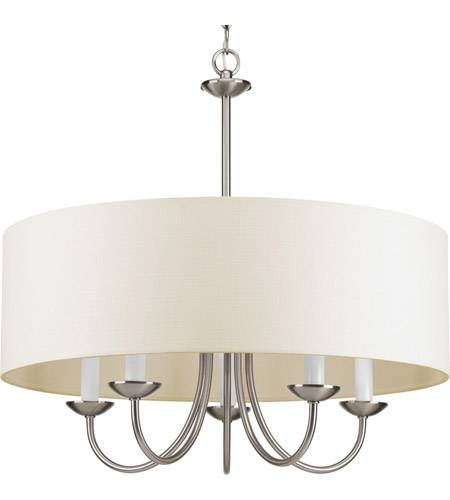 Progress P4217 09 Drum Shade 5 Light 22 Inch Brushed Nickel Drum With Brushed Nickel Drum Lights (#8 of 15)