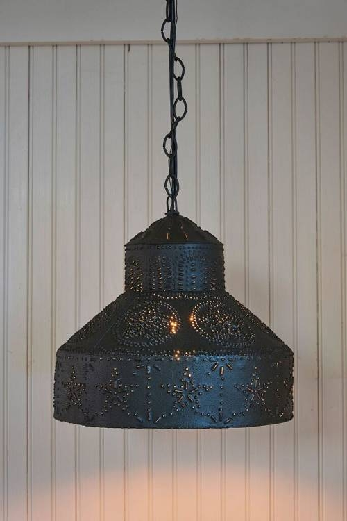 Punched Star Pendant Light In Tin Pendant Lights (#11 of 15)