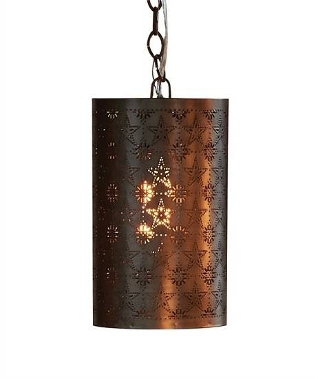 Punched Tin Cylinder Pendant Light In Punched Tin Pendant Lights (#8 of 15)