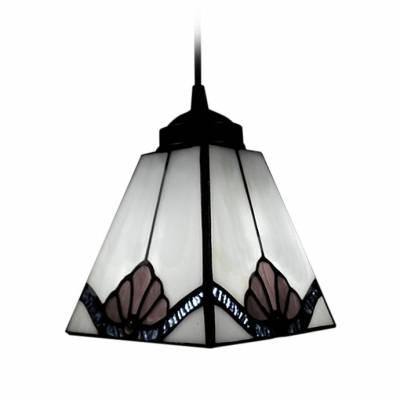 Pure White Square Shape Shade Tiffany Art Glass Style Mini Pendant Regarding Art Glass Mini Pendants (View 7 of 15)